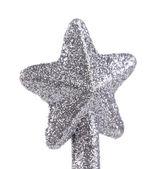 Silver star christmas decoration — Stock Photo