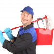 Man holding broom and bucket. — Stock Photo #42600903