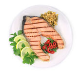 Grilled salmon with vegetables — Stock Photo