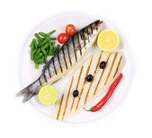 Grilled seabass with pangasius fillet — Photo