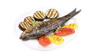 Grilled seabass with vegetables — Stock Photo