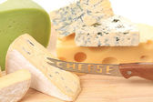 Cheeses on wood. — Stock Photo