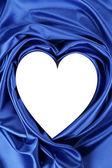 White heart of blue silk — Stock Photo
