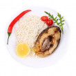 Grilled piece of fish with garnish. — Stock Photo #43408295