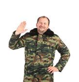 Security guard wearing green uniform — Stock Photo