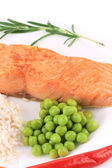 Grilled salmon filler with vegetables. — Stock Photo