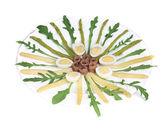 Salada com anchovas e espargos — Fotografia Stock