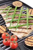 Carp fillet on grill — Stock Photo