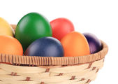Easter eggs in a basket. — Stock Photo