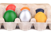 Easter eggs in a box. — Stock Photo