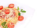 спагетти с соусом из базилика и сыром — Стоковое фото