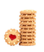 Stack of heart shaped strawberry biscuit — Stock Photo