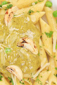 Pasta with pesto sauce — Stock Photo