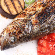 Grilled fish with eggplant. — Stock Photo