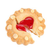 Heart shaped strawberry biscuit — Stock Photo