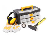 Black toolbox with tools. — Stock Photo