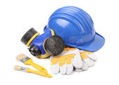 Safety helmet gloves and respirator. — Stock Photo