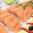 Grilled salmon fillets with rosemary. — Stock Photo