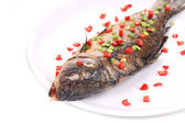 Fried fish with onion and pepper. — Stock Photo