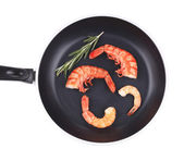 Boiled shrimps in frying pan. — Stockfoto