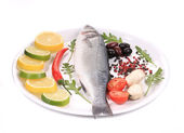 Seabass and vegetables. — Stock Photo