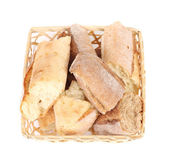 Baguettes in wicket basket. — Stock Photo
