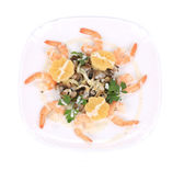 Shrimp salad with mushrooms and lemons. — Stock Photo