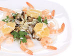 Shrimp salad with mushrooms and white sauce. — Stock Photo