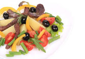 Salad with beef fillet. — Stock Photo
