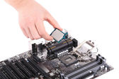 Desktop motherboard with CPU. — Stock Photo