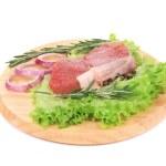 Raw beefsteak on platter. — Stock Photo #45643087