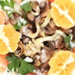 Shrimp salad with mushrooms and white sauce. — Foto de Stock