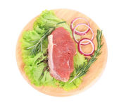 Raw beefsteak on platter. — Foto Stock