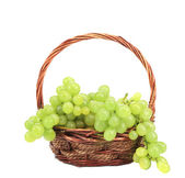 Green grapes in a wicker basket. — Stock Photo