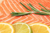 Closeup of salmon steak with rosemary. — Stock Photo