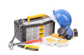 Toolbox pliers and hard hat. — Stock Photo
