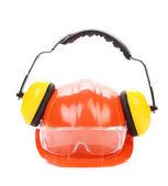 Orange safety helmet and protection headphones. — Foto Stock