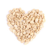 Processed pea nuts heart shape. — Stock Photo