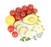 Avocado with vegetables and citrus. — Stock Photo
