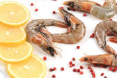Raw shrimps on plate. Close up. — Stock Photo