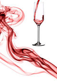 Composition of red smoke and champagne. — Stock Photo