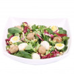 Mushroom salad with pine nuts and radicchio. — Stock Photo #45656821