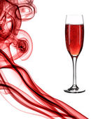 Red smoke and champagne. — Stock Photo