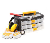 Tool box gloves and hammer. — Foto Stock