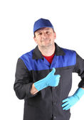 Cleaner showing thumbs up. — Stock Photo