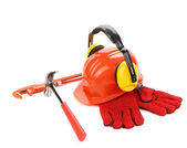 Red helmet and working tools. — Stock Photo