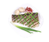 Grilled fish with green onions and peppercorn. — Stock Photo