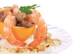 Shrimp salad with mushrooms. — Stock Photo