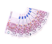 Banknotes on 500 euros laid out by a fan. — Stock Photo