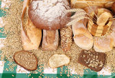 Composition of breads and wheat. — Stockfoto